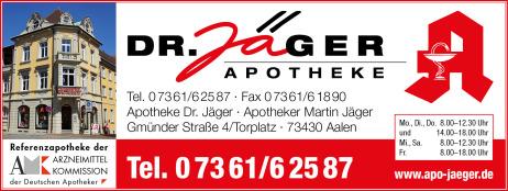 Apotheke Dr. Jäger, Aalen,  Gmünder Str. 4, 73430 Aalen,  Telefon 07361 62587, Medikamente, Vorbestellung, Öffnungszeiten