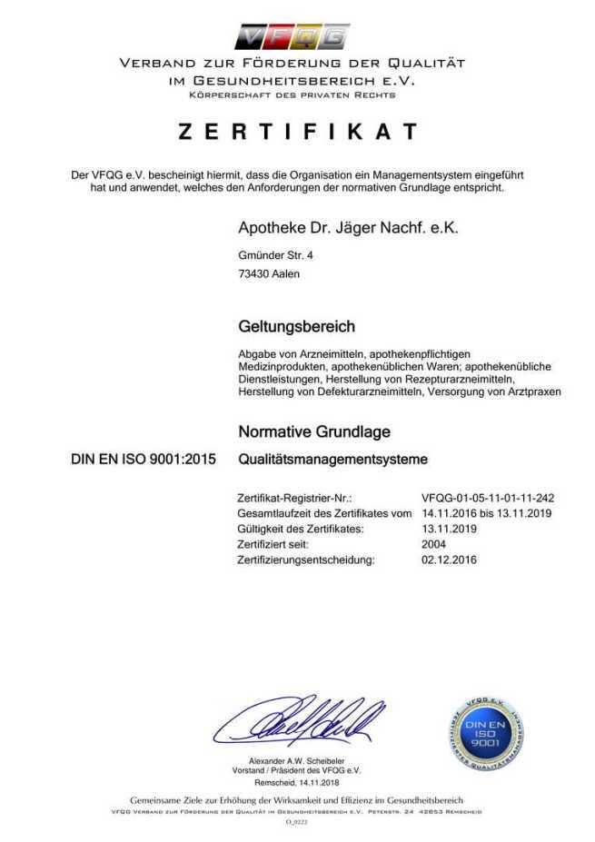 DIN ISO Zertifikat 2014 Apotheke Dr. Jäger Aalen