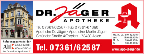 Apotheke Dr. Jäger - Aalen Telefon, Adresse, Öffnungszeiten, Arzneimittelkommission, Notdienst